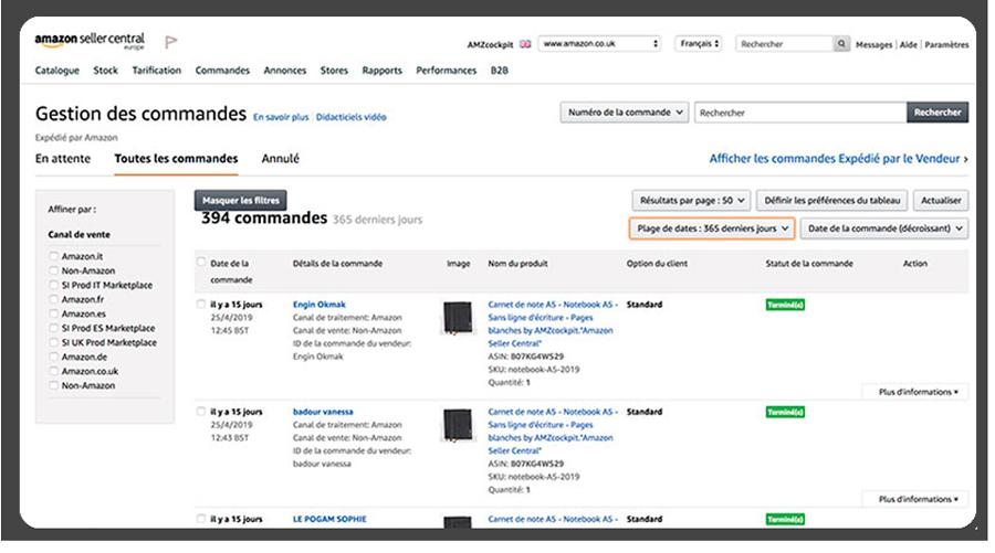 Gestion de pedidos en Amazon