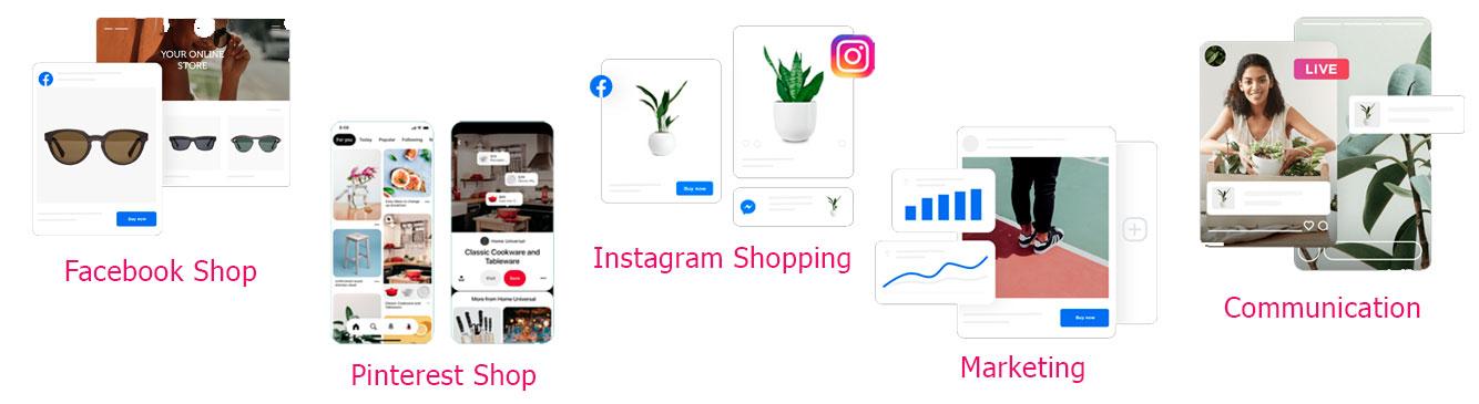 Social shopping sur Pinterest Facebook et Instagram